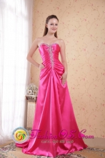 Hot Pink Dama Dress Empire Sweetheart Sweep Train Taffeta Beading Decorate for 2013 Puerto Cortes Honduras Spring Wholesale Style PDHXQ048FOR