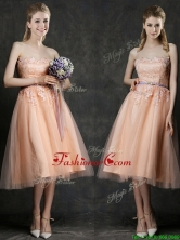 Hot Sale Strapless Peach Dama Dress with Sashes and Lace BMT0100CFOR
