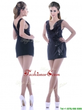 Latest Column Low Cut Neckline Sequined DamaDress in Black THPD035FOR