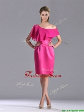 Latest Column One Shoulder Hot Pink Dama Dress with Zipper Up THPD114FOR