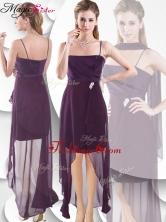 Latest Spaghetti Straps High Low Dama Dress in Burgundy SWPD004FBFOR