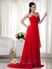 Launceston TAS Wholesale Fashionable Red Empire Sweetheart Brush Train Chiffon Appliques and Ruch Dama Dress for Formal Evening Style MLXN152Style