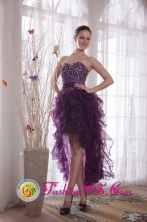 Lithgow NSW Wholesale Purple Column Sweetheart 2013 Dama Dress High-low Flirty Organza Beading Decorate Style PDATS125FOR
