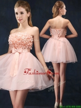 Lovely Baby Pink Short Dama Dress with Bowknot and Hand Made Flowers BMT088FOR
