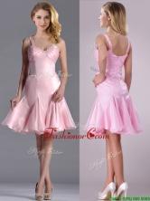 Lovely Beaded Bust Straps Short Dama Dress in Baby Pink THPD234FOR