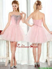 Lovely Beaded and Sequined Short Dama Dress in Baby Pink BMT0113FOR