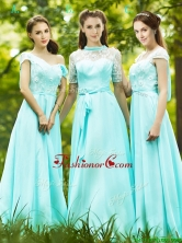 Lovely Chiffon Empire Long Dama Dress in Apple Green BMT0193FOR