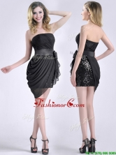 Lovely Column Bowknot Short Dama Dress in Chiffon and Sequins THPD071FOR