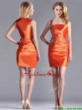 Lovely Column Square Side Zipper Short Dama Dress in Orange Red THPD029FOR