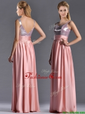 Lovely Empire Straps Zipper Up Peach Dama Dress with Sequins THPD080FOR