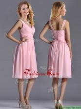 Lovely Empire V Neck Baby Pink Short Dama Dress with Beading THPD204FOR