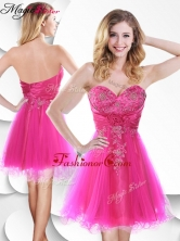 Lovely Short Hot Pink Dama Dress with Beading and Hand Made Flowers SWPD014FBFOR