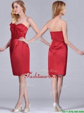 Low Price Red Column Satin Knee Length Dama Dress with Ruffles THPD180FOR