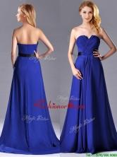 Luxurious Empire Chiffon Royal Blue Dama Dress with Brush Train THPD240FOR