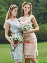 Luxurious See Through Scoop Cap Sleeves Dama Dress with Sashes BMT0103FOR