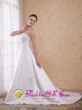 Mandurah WA WholesaleCustomize White  Princess Strapless Count Train Embroidery Satin Elegant Dama Dresse Style WDATS1008019FOR