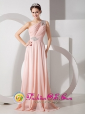 Melbourne VIC Wholesale One Shoulder Baby Pink Elegant Brush Train Chiffon Ruch and Beading for 2013 Dama Dresses Style GNTB080825FOR
