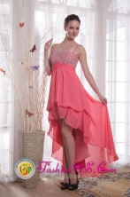 Melton VIC Wholesale Straps Watermelon High-low   Empire Beading Chiffon Dama Dresses for Cocktail Style   PDHXQ075FOR