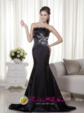 Mermaid Strapless Appliques Decorate Brush Train Satin Black Mysterious Dama  Dress In Rincon Puerto Rico Wholesale  Style MLXN164FOR
