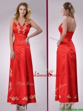 Modest Column Halter Top Backless Red Dama Dress with Appliques THPD324FOR