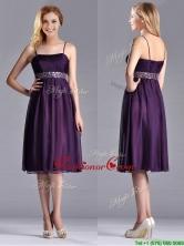 Modest Spaghetti Straps Beaded Chiffon Short Dama Dress in Purple THPD200FOR