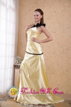 Moe VIC Wholesale One Shoulder Light Yellow Elastic   Woven Satin Ruch Dama Dresses Column 2013 Spring   Style PDHXQ076FOR
