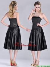 Most Popular Zipper Up Strapless Black Dama Dress in Tea Length THPD101FOR