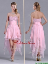 New Arrivals Beaded Bust High Low Chiffon Dama Dress in Baby Pink THPD098FOR