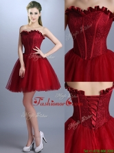 New Arrivals Laced Mini Length Bridesmaid Dress in Wine Red BMT0129FOR