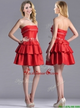 New Arrivals Red Strapless Dama Dress with Ruffled Layers and Beading THPD214FOR