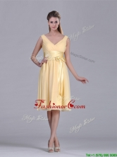 New Arrivals V Neck Bowknot Chiffon Short Dama Dress in Yellow THPD110FOR