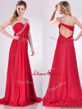 New Beaded Decorated One Shoulder Red Dama Dress with Brush Train THPD146FOR