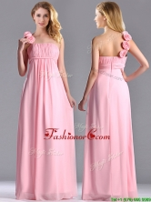 New Style Baby Pink Dama Dress with Handcrafted Flowers Decorated One Shoulder THPD212FOR
