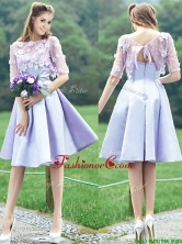 New Style Bateau Half Sleeves Lavender Dama Dress with Appliques BMT0108FOR