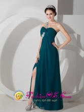 NewcastleNSW Wholesale High Split One Shoulder Green Dama Dresses Floor-length Ruch and Appliques Style JSY080805FOR