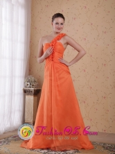 Orange Empire One Shoulder Sweep  Train Chiffon Dama Dress for Formal Evening In La Lima Honduras Wholesale Style PDHXQ049FOR