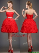 Perfect Really Puffy Red Dama Dress with Beading and Ruffles BMT0183BFOR