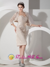 Perth WA Wholesale Champagne Hand Made Flower   Sweetheart Lace Beaded Matching Jacket Dama Dresses   Style GNTB080827FOR