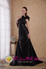 Perth WA Wholesale One Shoulder Black Princess Court Train Taffeta Beading and Ruch Dama Dress For Spring Style PDHXQ037FOR