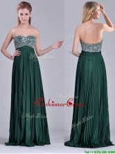 Popular Brush Train Beaded Bust and Pleated Dama Dress in Hunter Green THPD140FOR