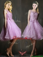 Popular See Through Beaded and Applique Dama Dress in Lavender BMT0190AFOR