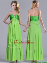 Pretty Beaded Decorated V Neck Spring Green Dama Dress in Ankle Length THPD153FOR