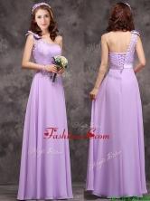 Pretty One Shoulder Lavender Dama Dress with Applique Decorated Waist BMT0170EFOR