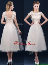 Pretty Tea Length A Line Dama Dress with Cap Sleeves BMT0185DFOR