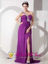 Purple Empire One Shoulder Brush Train High Slit Chiffon Beading and Ruch Dress For 2013 Summer Dama In Isabela Puerto Rico Wholesale  Style GNTB080821FOR