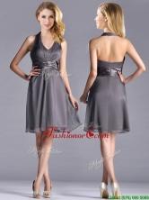 Romantic Chiffon Halter Top Knee Length Dama Dress in Grey THPD073FOR