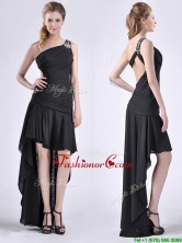 Romantic High Low One Shoulder Black Dama Dress with Criss Cross THPD181FOR