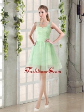 Ruching Organza A Line Straps Dama Dress with Lace Up BMT014DFOR