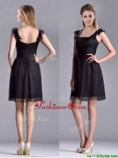 Simple Empire Square Chiffon Black Dama Dress with Cap Sleeves  THPD050FOR