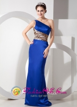 Stylish Lepard Royal Blue Taffeta Column Party Dress with One Shoulder Brush Train In Juana Diaz  Puerto Rico Wholesale  Style GNTB080823FOR